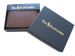 Polo Ralph Lauren Brown Leather Men Bifold Wallet & Credit Card Holder