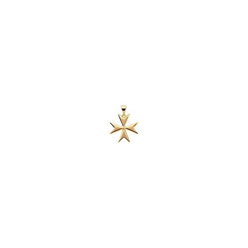 14K Yellow Gold 18mm Maltese Cross Pendant with Packaging