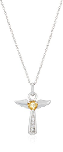 Sterling Silver Citrine Angel Heart Pendant Necklace, 18