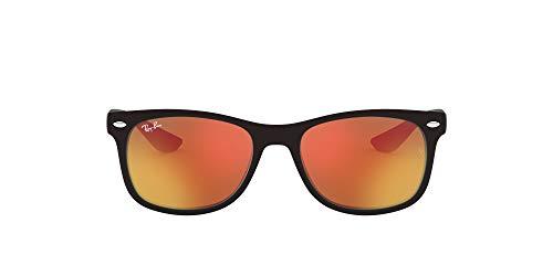 Ray-Ban Junior Kid's RJ9052S New Wayfarer Kids Sunglasses, Matte Black/Orange Mirror, 48 mm (Ray-ban New Wayfarer Amazon)