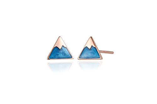 Reu Jewelry Sterling Sliver Aqua Blue Retro Triangle Stud Earrings Daily Collocation (18k -