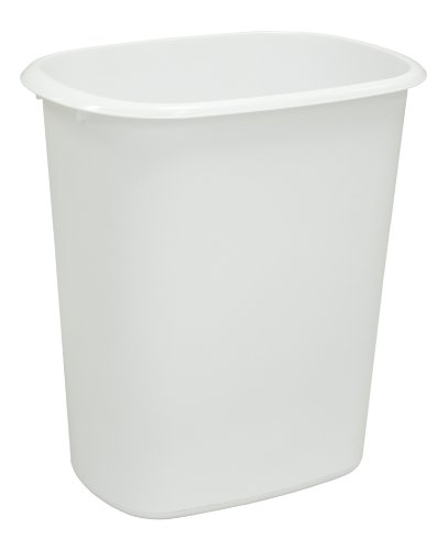 United Solutions WB0034 White Forty Quart Indoor Wastebasket - 40QT Plastic Trash/Refuse Can for Office, Home or Dorm Room in White (Quart Wastebasket)