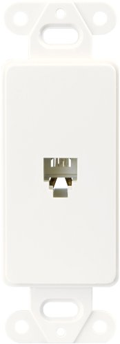 Eaton 3560-4W Decorator Insert Single Telephone Jack with 4-Conductors, Category 3 RJ11 or RJ14, White (Outlet Telephone)