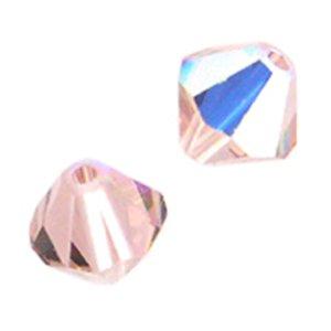 Vintage Swarovski Rose - Swarovski Elements 5301 4mm Bicone Crystal Beads - Vintage Rose AB (48)