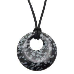 CrystalAge Snowflake Obsidian Donut Pendant (Gift Boxed)