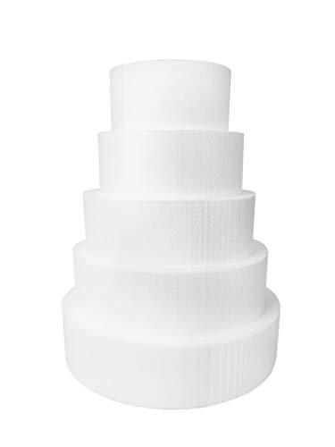 """Round 4"""" Cake Dummies - Set of 5, Each 4"""" High by 8"""", 10"""", 12"""", 14"""", 16"""" Round"""