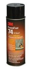 3M 74 Foam Fast Spray Adhesive, 24 fl oz Aerosol Can, Clear (Case of 12)