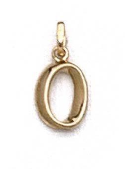 """Pendentif initiale poli 14 carats O 11/16 """"- JewelryWeb"""