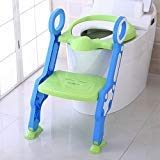 Portable Kids-Toddlers Toilet Potty Training Seat with Ladder,Sturdy-Comfortable-Safe, Adjustable Children's Toilet Seat Chair For Boys/Girls/Baby/Infant with Built In Anti-Slip Steps and Pads (Green)