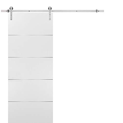 Barn Sliding White Door 30x80 with Stainless Steel Hardware | Planum 0020 Matte White | Rail 6.6FT Hangers Silver Set | Closet Modern Solid Core Door