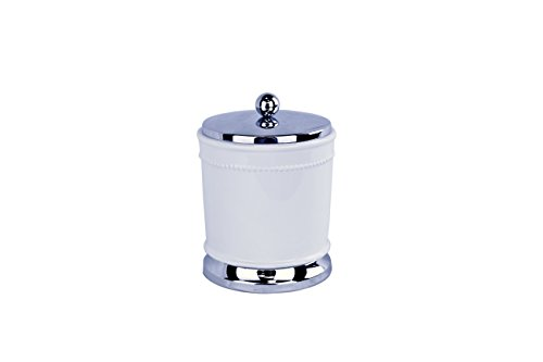 Ava - Style comes home Canister - for Bathroom or Kitchen Countertops – Florence Collection - White Ceramic with Chrome (Beaded Vanity Set)