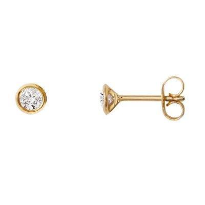 Boucles d'oreilles-Or jaune 585-Diamant