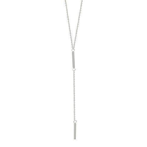 14k White Gold Lariat Necklace with Two Bar Drops Y-style Adjustable Length Lariat White Gold Necklace