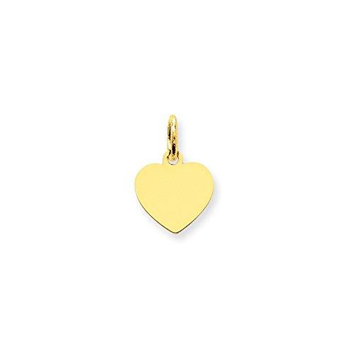Engravable Charm Disc (14k Gold Plain .011 Gauge Engraveable Heart Disc Charm Pendant (0.63 in x 0.39 in))