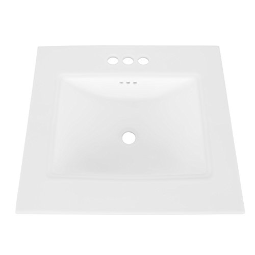 "MAYKKE Brighton 25"" Ceramic White Bathroom Sink Vanity Sinktop with 4"" Centerset Faucet Holes Drop-in Rectangular Cabinet Sink cUPC Certified, Overflow Included"