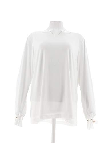 Susan Graver Liquid Knit Long SLV Top Buckle Cuffs White 1X New A301132 from Susan Graver