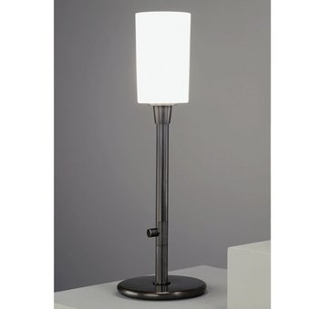 Robert Abbey Z2069 Lamps with Frosted White Cased Glass Shades, Deep Patina Bronze Finish