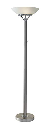 Adesso 5023-22 Expo Floor Lamp, Satin Steel, Smart Outlet Compatible, 18