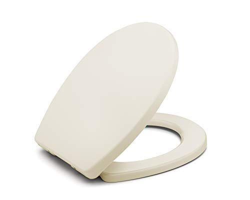 Bath Royale BR283-02 MasterSuite Round Toilet Seat with Cover, Almond/Bone, Slow-Close, Quick-Release for Easy Cleaning