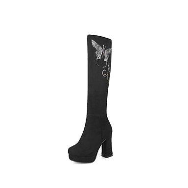 de Nubuck Invierno botas Glitter Zapatos Fashion Otoño UK4 botas rodilla pelusas redonda US6 punta 5 RTRY Cuero 5 Forro brillante Chunky mujer comodidad de EU37 altas 5 de botas CN37 talón 7 7Hgnq0Xw