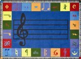 (Joy Carpets Kid Essentials Music and Special Needs Elementary Note Worthy Rug, Multicolored, 5'4