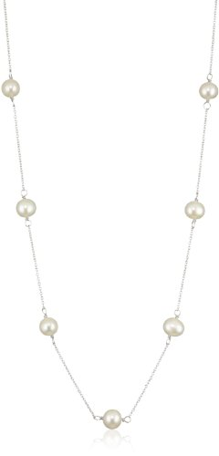 Tin Sterling Cup Silver (Bella Pearl White Sterling Silver Tin Cup Necklace, 18-Inch)