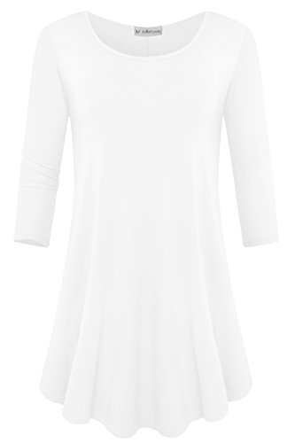 JollieLovin Womens 3/4 Sleeve Loose Fit Swing Tunic Tops Basic T Shirt (White, - Scarf Top Girls