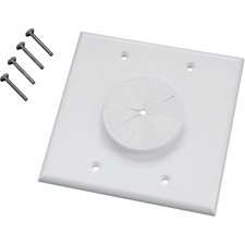 (Midlite 2GIV-GR2 2 GANG Wireport Wall Plate with Grommet- Ivory-by-Midlite)