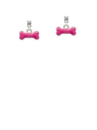 (Hot Pink Glitter Dog Bone Clear Crystal Post Earrings)