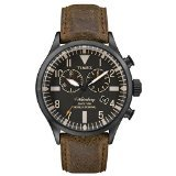 Timex Originals Waterbury Chronograph Black Dial Brown Leather Stainless Steel Indiglo Light Mens Watch TW2P64800