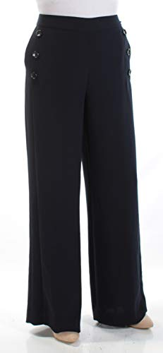 DKNY Womens Day to Night Work Wear Wide Leg Pants Navy 4 ()
