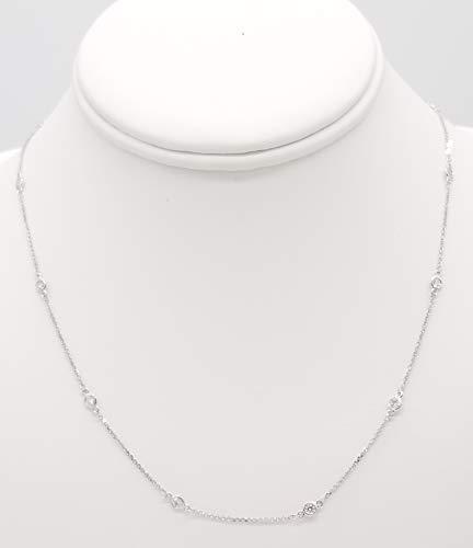 Bezel Set Diamond by The Yard Chain Necklace, 14K Gold, 18