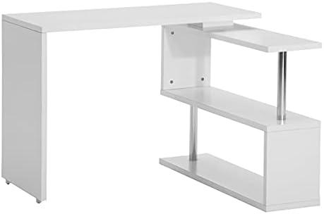 JIALI 360° Rotating Corner Computer Desk Morden L-Shaped PC Table with 2 Tier Storage Shelves, Bookshelves, Lockable Universal Wheels Write Desk Double Workstation for Home Office 40 inch