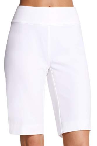 (Boston Proper Women's Everyday Side Zip Stretch Twill High-Rise Bermuda Short Pure White 18)