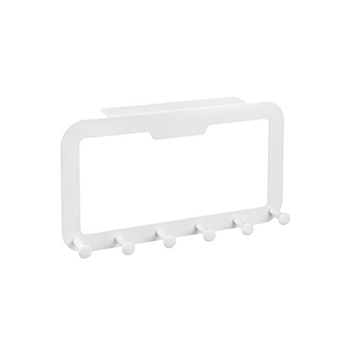 Adhesive Over the Door Hooks Heavy Duty ,Door Hangers, Mute and Seamless, Clothes, Dressers, Towel, Coat Hooks Holder, for Bathroom Shower Kitchen Fridge, NO Drill, White, 6 Hooks, BQTime (Super Loads X-heavy Game)