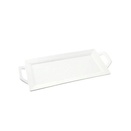 """10 Strawberry Street Whittier Embossed 12"""" Rectangular Handled Platter, Set of 2, White"""