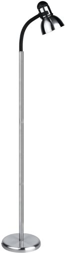 Lite Source LS-8530PS/BLK Henrik Metal Floor Lamp, Polished Steel with Black