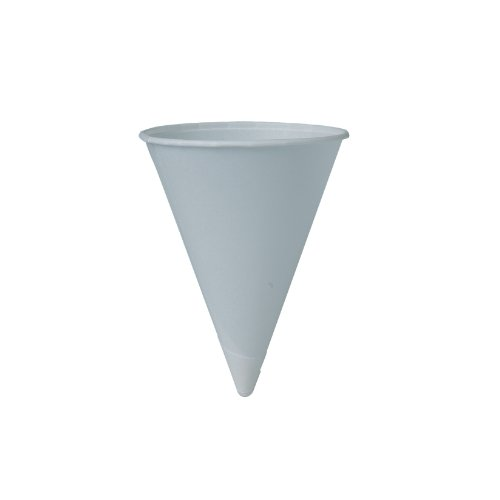 SOLO 42BR-2050 Bare Eco-Forward Treated Paper Cone Water Cup, Rolled Rim, 4.25 oz. Capacity, 2.9