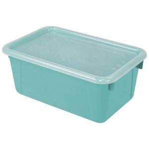 Storex Small Cubby Bin, with Cover, Classroom Teal (Case of 5)