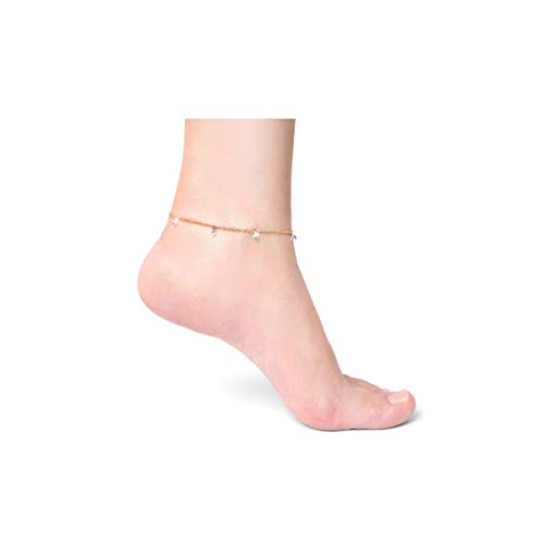 COLROV 14k Gold Ankle Bracelets for Women Teen Girls Cute Beach Foot Jewelry Anklets Color Gold