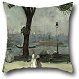 Brown Paisley Needlepoint (Pillow Shams Of Oil Painting William Glackens - East River Park,for Office,adults,bedroom,bar Seat,couples,lounge 16 X 16 Inches / 40 By 40 Cm(twin Sides))