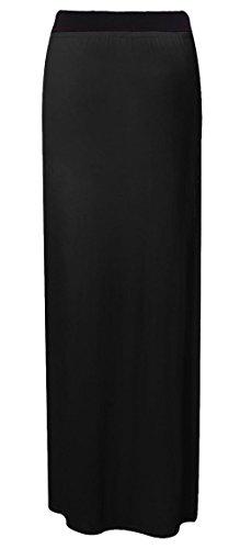Maxi Gypsy Black unita Size elasticizzato Da jersey Tinta Plus gonna donna donna abito lungo Ztwnq8Wq4