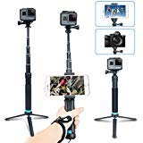 AFAITH Selfie Stick Tripod for GoPro, 2-in-1 Extendable Monopod Aluminum Alloy Hand Grip