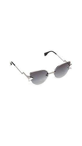 Fendi Women's Demi Crystal Sunglasses, Dark Ruthenium/Dark Grey, One Size by Fendi