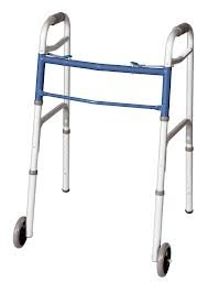 Carex Classics Dual Button Walker with Wheels, Blue Cross Bar, Weight Capacity 300 lbs , 4 Per Case
