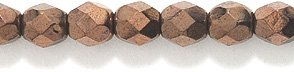 - Preciosa Czech Fire 4 mm Faceted Round Polished Glass Bead, Copper Finish Over Black, 300-Pack