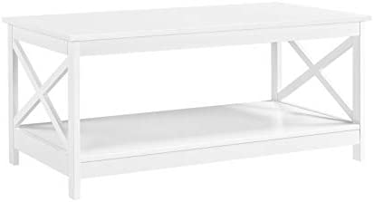 Topeakmart Modern X Design White Coffee Table