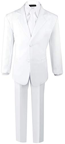 Black N Bianco Boys Formal Black Suit with Shirt and Vest (12, White) -