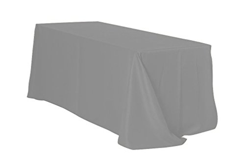 Your Chair Covers Rectangular Polyester Tablecloths, 90' W x 132' L, Gray