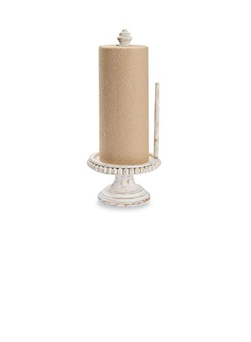 Mud Pie Farmhouse White-Washed Beaded Wood Pedestal Paper Towel Holder Grey ()